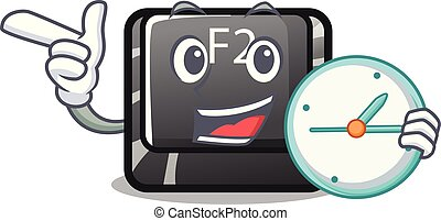 With clock cartoon f2 button on the keyboard