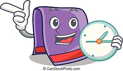 With clock cartoon home kitchen towel vector illustration