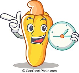 With clock cashew character cartoon style vector...