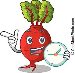 With clock character organic beetroot in the garden