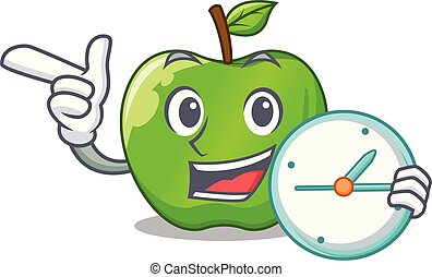 With clock character ripe green apple with leaf