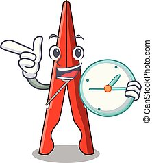 With clock clothes peg character cartoon vector illustration