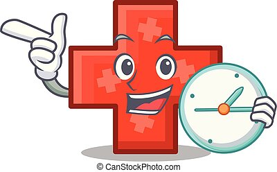 With clock cross character cartoon style