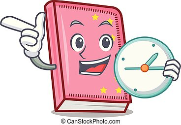 With clock diary character cartoon style