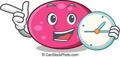With clock ellipse character cartoon style