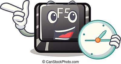 With clock f5 installed on the mascot computer vector illustration