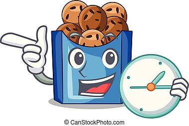 With clock falafel in fried on teflon cartoon vector ...