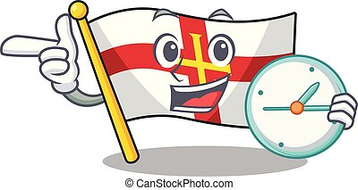 With clock flag guernsey with the cartoon shape vector illustration