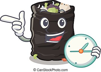 With clock garbage bag in the cartoon shape vector illustration