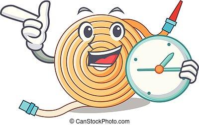 With clock garden water hose cartoon