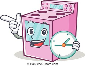 With clock gas stove character cartoon