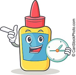 With clock glue bottle character cartoon