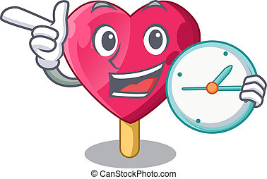 With clock heart character ice cream on candy