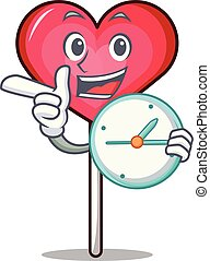 With clock heart lollipop character cartoon