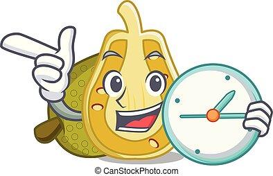 With clock jackfruit character cartoon style vector...