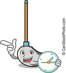 With clock mop character cartoon style