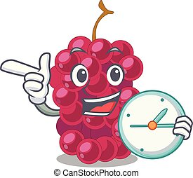 With clock mulberry in the character fruit basket vector...