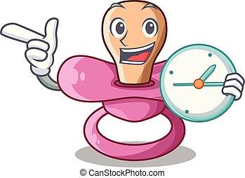 With clock newborn is sucking a pacifier cartoon vector illustration