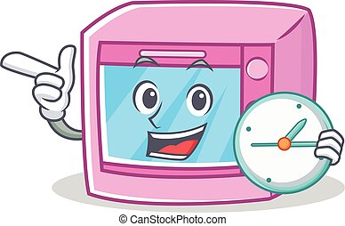 With clock oven microwave character cartoon