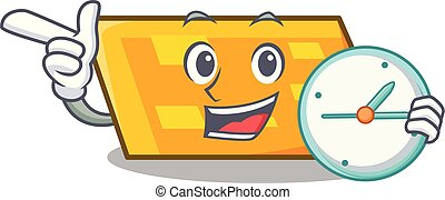 With clock parallelogram character cartoon style