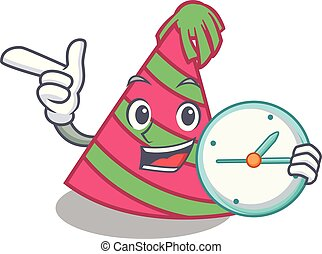 With clock party hat character cartoon vector illustration