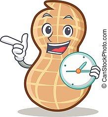 With clock peanut character cartoon style