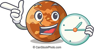 With clock picture of a cartoon mercury planet