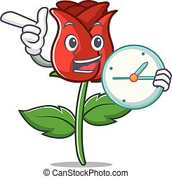 With clock red rose character cartoon