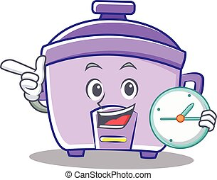 With clock rice cooker character cartoon