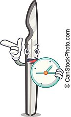 With clock scalpel character cartoon style