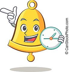 With clock school bell character cartoon