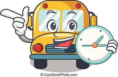 With clock school bus character cartoon