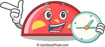 With clock semicircle character cartoon style