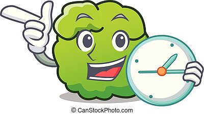 With clock shrub character cartoon style