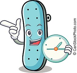 With clock skateboard character cartoon style