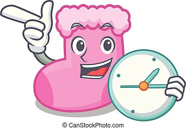 With clock sock character cartoon style