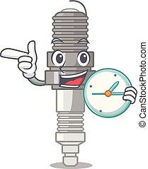 With clock spark plug in a cartoon box