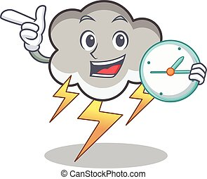 With clock thunder cloud character cartoon