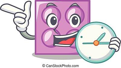 With clock toy brick character cartoon