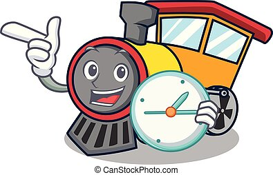 With clock train character cartoon style