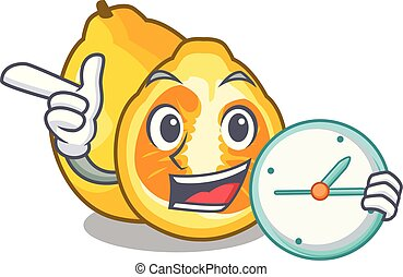 With clock ugli in the mascot fruit basket illustration...
