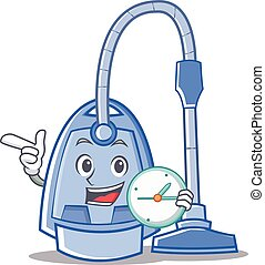 With clock vacuum cleaner character cartoon