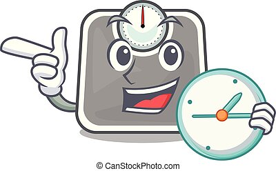 With clock weghit cartoon scale the health room
