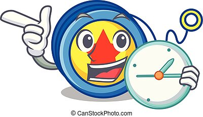 With clock yoyo character cartoon style vector illustration