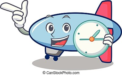 With clock zeppelin character cartoon style
