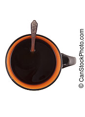 with Cup of coffee on white background