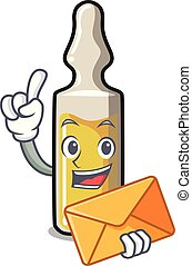 With envelope ampoule character cartoon style vector...