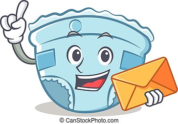 With envelope baby diaper character cartoon