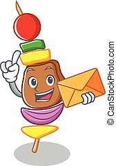 With envelope barbecue character cartoon style