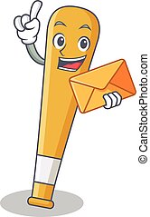 With envelope baseball bat character cartoon